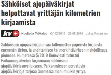 Ajokki Ajopäiväkirja esillä Koneviestissä 29.8.2019
